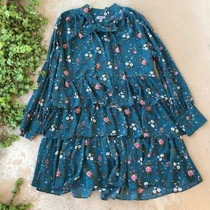 Chelsea 28 Teal Floral Tiered Dress